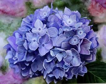 Hydrangea painting etsy for Aquarelle fleurs livraison gratuite
