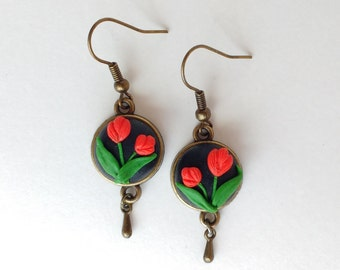Polymer clay Embroidery Earrings Tulips Floral earrings Hand sculpted jewelry Dangle earrings Polymer clay filigree applique