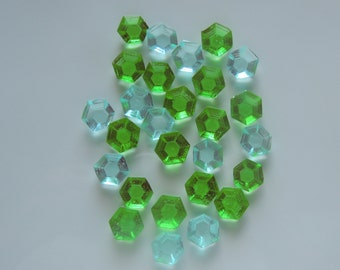 Edible Jewels 30 Candies Gems Cupcake Decorations Mine Craft Sky Blue Emerald Birthday Wedding Baby Treats Favors Candy