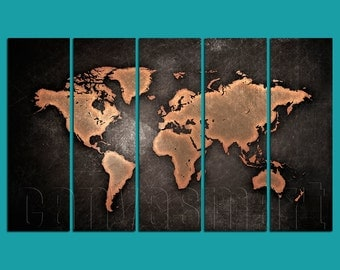 Vintage Scratched World Map Diptych, Triptych, 5 Panels Canvas, Print Ready To Hang, Stretched Giclée, Gallery Wrap Art Décor Best Offer