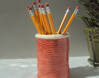 Rose Ceramic can, red pencil cup, ceramic pot