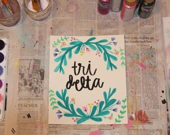 """7.5"""" x 9"""" Watercolor Print - """"Tri Delta"""""""