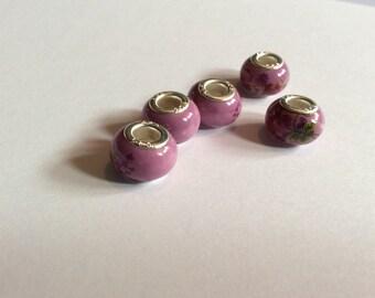 Porcelain beads / pink beads /  European  beads /  Murano beads / silver beads