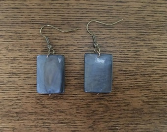 Blue slate rectangle drop earrings