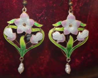 Hand Crafted in USA, Wire Wrapped, Floral Enamel Earrings with Fresh Water Pearl Drop