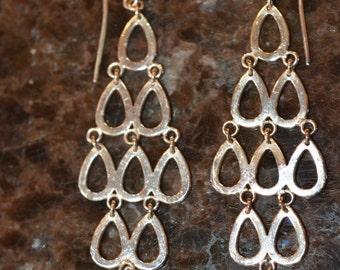 Vintage, Silver Plated Multi Teardrop Dangle Earrings Approximately .75 inches W x 2 inches H