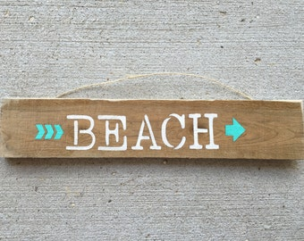 Hand Painted Wooden Sign- Beach