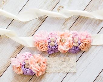 Floral Sash Set, Floral Sashes, Flower Girl Sash, Satin Sash, Lace Headband, Girls Headband, Flower Headband, Floral Headband
