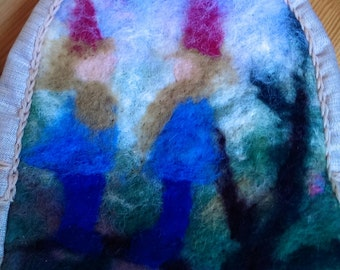 Felted wool decorated kids backpack