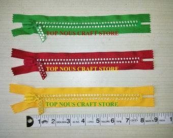 3 Double Diamond Teeth 8 Inch Long Closed End Zippers