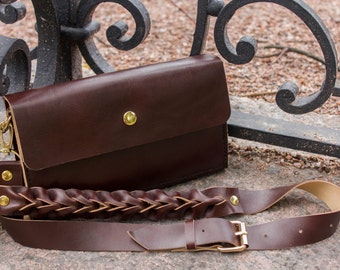 Brown Leather Clutch, Handbag
