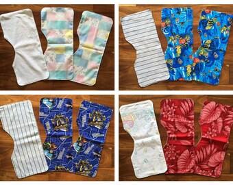 Handmade Contoured Burp Cloths (Set of 3)