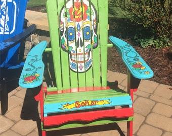 Adirondack Chair Hand Painted   Custom Sugar Skull. Unique Gift. Christmas.  Birthday.