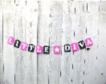 Little Diva party banner, Mommy's little diva, Pink and Black, Party banner, Diva star, Diva sign, Little Diva sign, pink party decorations