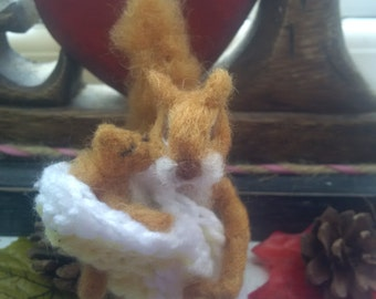 felted mother and baby squirrel