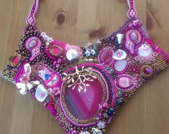 Agate, soutache and bead embroidery necklace - one of a kind, handmade