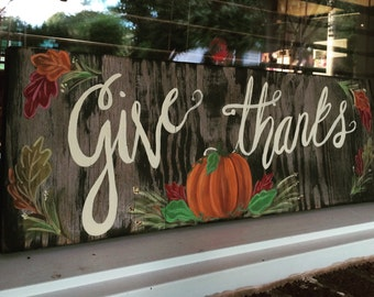 Give Thanks Rustic Wood Sign