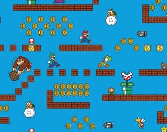 Nintendo Fabric- Super Mario Fabric- Super Mario Scenes Fabric From Springs Creative