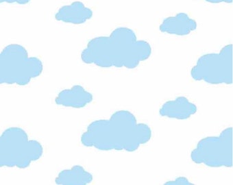 FLANNEL Dreamy Clouds White Fabric From David Textiles