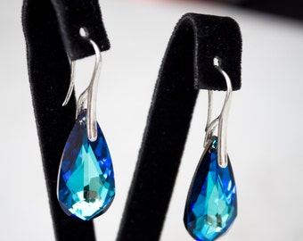 Bermuda Blue earrings with Swarovski silver skyey earrings with phianites