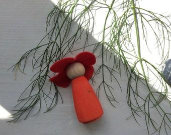 Poppy Flower Fairy Peg Doll