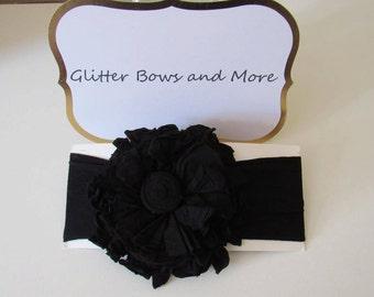 Black Nylon Flower Headband
