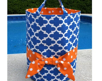 Royal/orange bucket tote