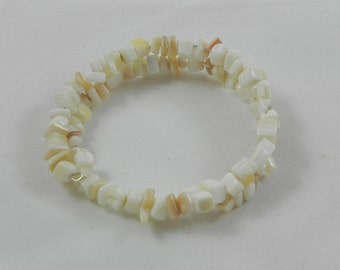 Mother of Pearl memory wire bracelet