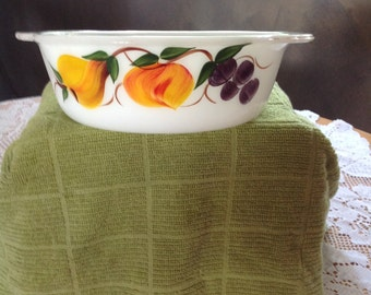 Vintage Fire King Casserole Dish Gay Fad Fruits Pattern, 1 1/2QT, 1960, Anchor Hocking