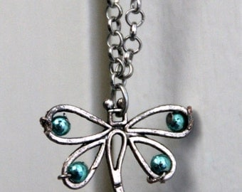 Summer necklace with dragonfly