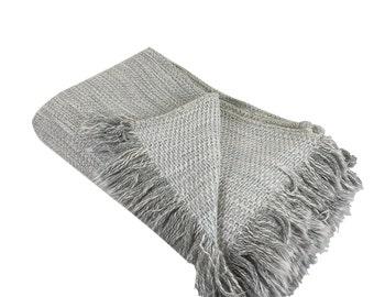 Pastel Blue Cotton Throw Blanket
