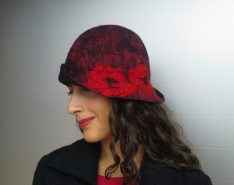 Felt hat, hat, hat vintage merino wool, Butterfly