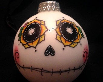 Dia de los Muertos (Day of the Dead) hand-painted sugar skull glass ornament