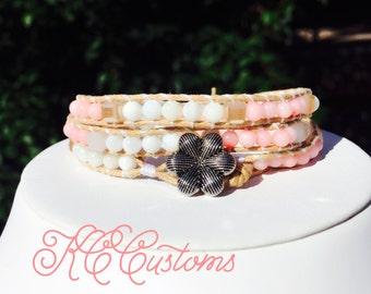 Pale pink and white triple wrap bracelet