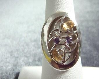 Sterling Silver Ireland Citrine/Amethyst Ring RR6