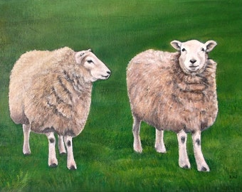 Original Sheep in a Field Oil Art Painting