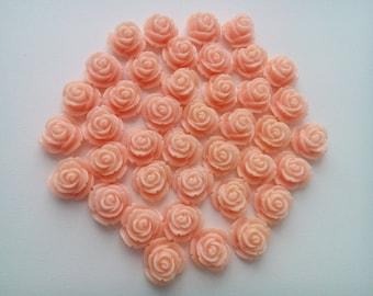 24 Resin rose cabochons