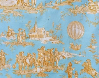 Fabric Jouy ball of Gonesse blue and yellow canvas - editor French Charles BURGER - DImension for 1 quantity: 96cmX96cm