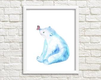 Polar Bear. Watercolor Art Print. Wall Art. Home Decor