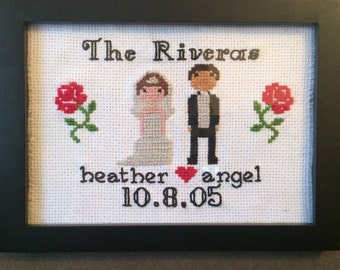 Custom Wedding/Anniversary Framed Stitch