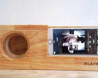 Acoustic Wood Amplifier Speaker Dock for iPhone & Galaxy. Wood phone Dock