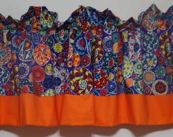 Handmade valance multicolored abstract geometry with orange