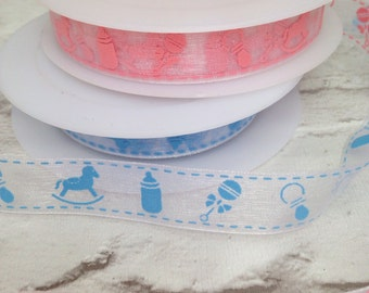 Organza Ribbon, 1 Meter Organza Ribbon, 15mm Ribbon, Baby Boy Ribbon, Baby Girl Ribbon,  Baby Ribbon, Baby Shower, Pink Ribbon, Blue Ribbon