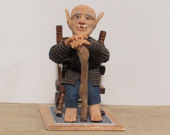 "OOAK Art Doll, Polymer Clay Doll, 8"" Ogre, Handmade Sculpture, ""Grandpa Ogreson"" By Sherry Harrison"