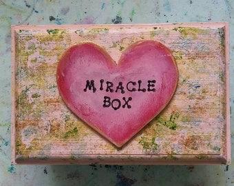 Miracle box, Valentine's Day, intention box, magic, boho box, trinket box, God box, decorated box, gift box, wishes and dreams.