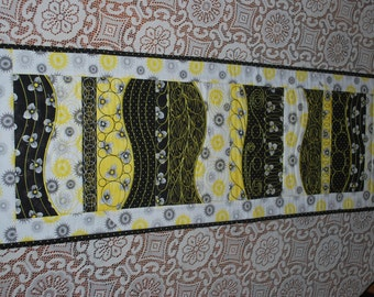 Freeform Black and Yellow Quilted Table Runner