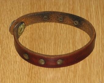 Vintage Leather Treaty Studded Wrist Band Snap Bracelet