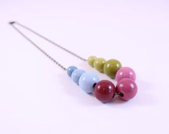 Fall Feast: Cranberry, Olive, and Slate Colorshift Gradient Ombre Statement Necklace For Wedding Colors Mothers Day or Girlfriend Gift