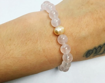 Rose Quartz and Natural Pearl Bracelet