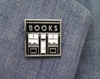 Book Shop enamel pin - bookish pin - gift for book lovers - literary jewelry - book pin - reading pin